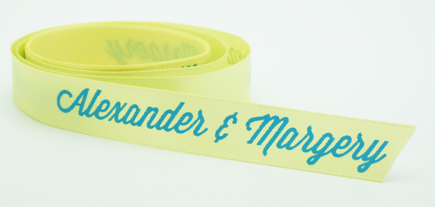 Custom printed Baby Maize satin ribbon with Cyan Foil by FinerRibbon