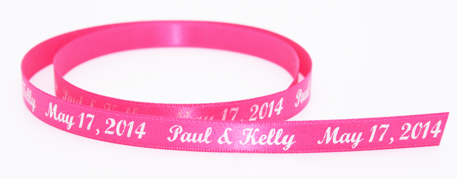 Personalized satin ribbon with silver metallic foil.
