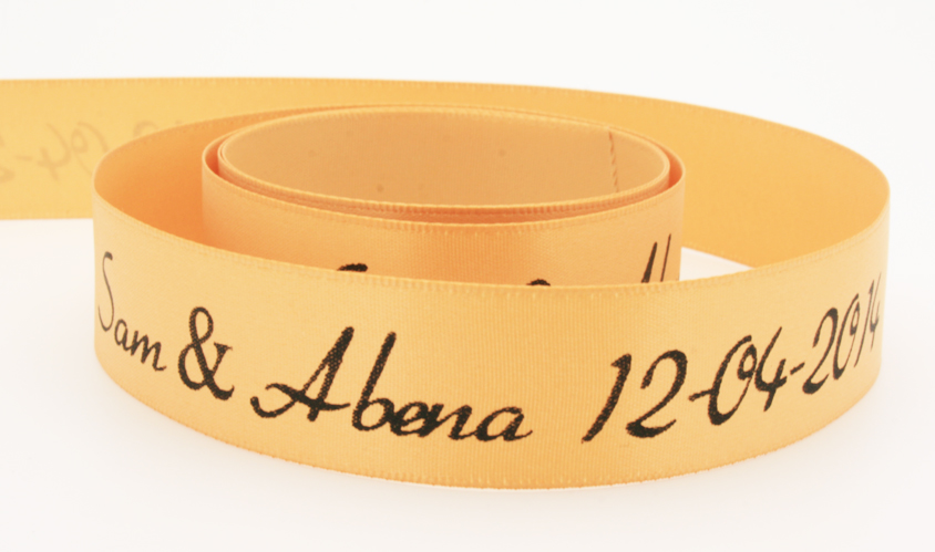 Custom printed Gold Dust satin ribbon with black foil!