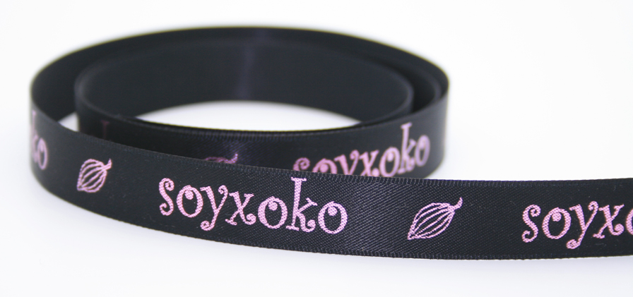 Low contrast color printing on satin ribbon