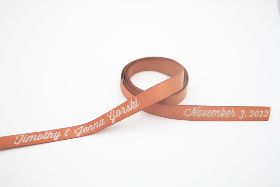 Personalized satin ribbon coffee color with Silver Matte ink.