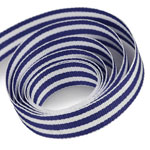 White / Navy Mono Stripe Ribbon