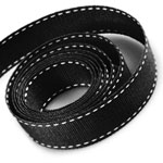 Black / White Saddle Stitch Grosgrain Ribbon