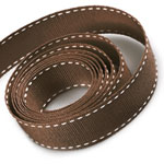 Brown / White Saddle Stitch Grosgrain Ribbon