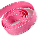 Hot Pink / White Saddle Stitch Grosgrain Ribbon
