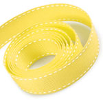 Lemon / White Saddle Stitch Grosgrain Ribbon