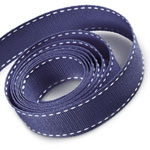 Navy / White Saddle Stitch Grosgrain Ribbon