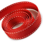 Red / White Saddle Stitch Grosgrain Ribbon