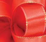 Coral Opal Edge Double Face Satin Ribbon