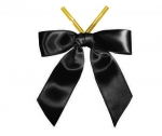 Black Satin Twist-Tie Bow (50 Pcs)