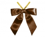 Brown Satin Twist-Tie Bow (50 Pcs)