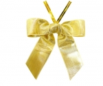 Metallic Gold Satin Twist-Tie Bow (50 Pcs)