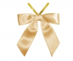 Old Gold Satin Twist-Tie Bow (50 Pcs)