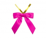 Shocking Pink Satin Twist-Tie Bow (50 Pcs)