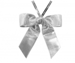 Metallic Silver Satin Twist-Tie Bow (50 Pcs)